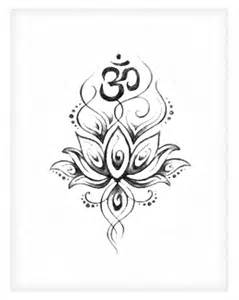 Lotus And Om Greyed Out Lotus Om Drawings Silhouettes Printables