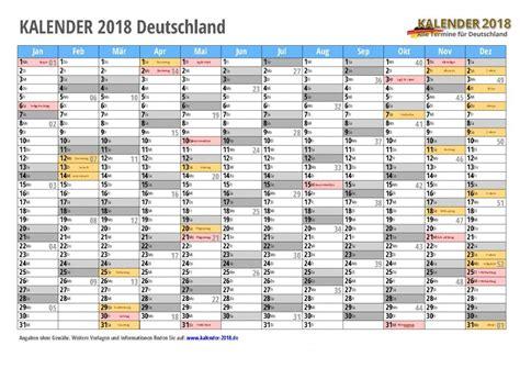 Jahreskalender 2018 Excel Kalender 2018 Mit Feiertagen Ferien Kalenderwochen