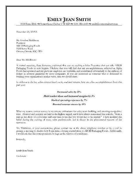 Offer Letter Format For Marketing Executive Sales Executive Cover Letter Exle