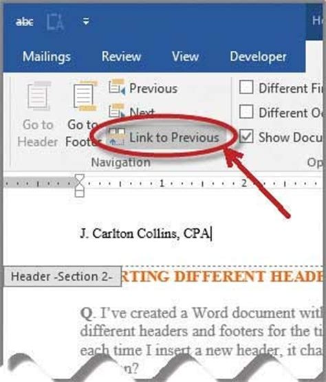 link to section of page microsoft word how to insert different headers and