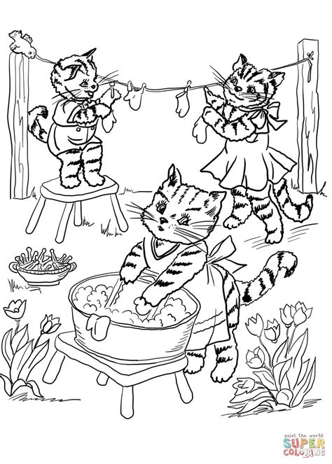 three little kittens coloring page free printable