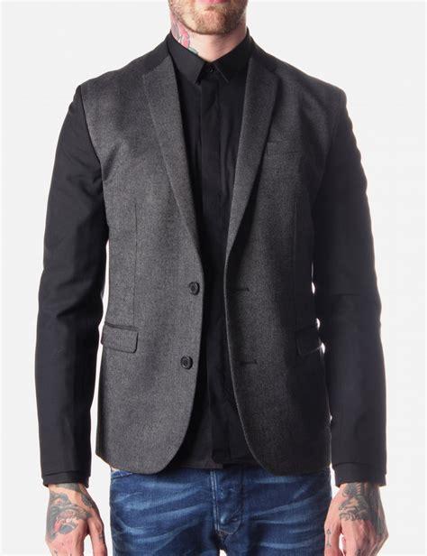 grey blazer religion destructed men s blazer dark grey