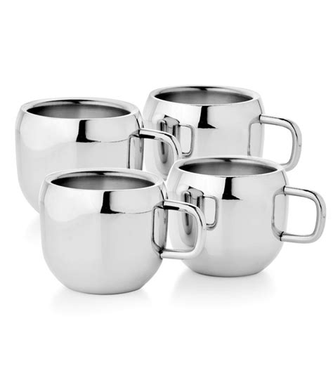 Kitchen Cups by Mosaic Stainless Steel 4 Pcs Tea Cup Set Qute By Mosaic