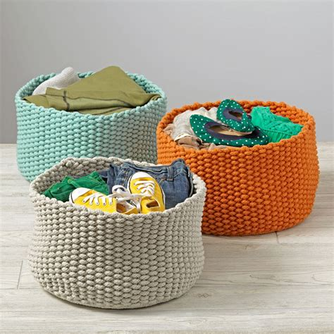 knitting storage containers kneatly knit medium rope bins the land of nod