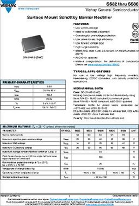 diode ss34 ss34 e3 57t datasheet specifications diode type schottky voltage dc