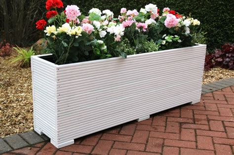 White Trough Planter by Large Wooden Garden Planter Trough Painted In Cuprinol