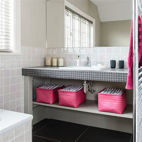 gray and pink bathroom white bathroom with pink and black accents decorating