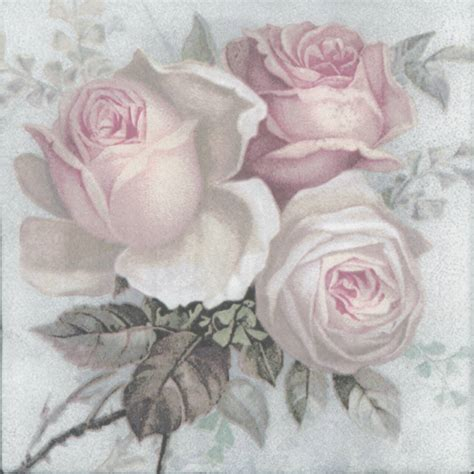 Decoupage Roses - decoupage paper napkins of large pastel bouquet