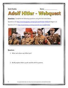 hitler biography worksheet analyzing adolf hitler s speeches worksheet