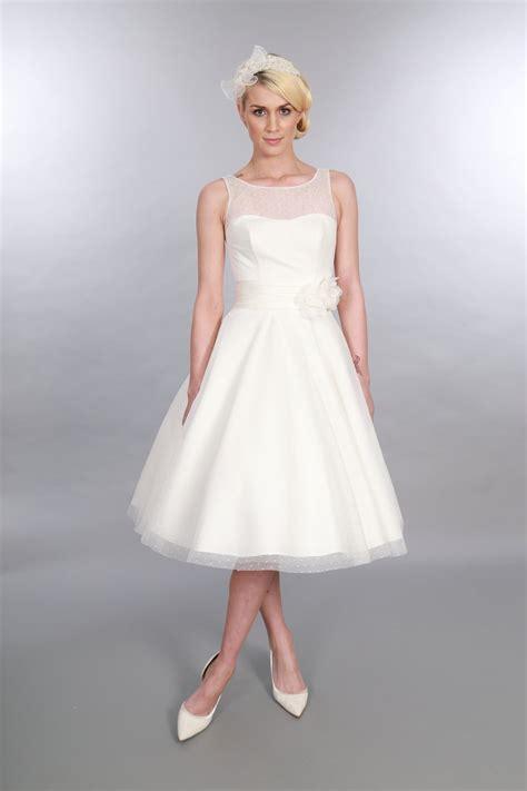 Vintage Chic Wedding Dresses by Timeless Chic Anara Tea Length Polka Dot Wedding Dress