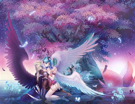 anime girl hero wallpaper hintergrundbilder fl 252 gel anime liebe fantasy umarmung m 228 dchens