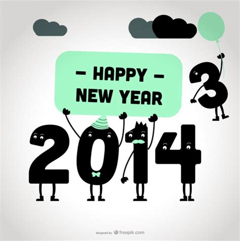 2014 new year happy message card design vector free download