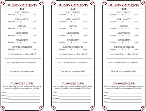 Template For Comment Card by Restaurant Comment Card Search Comment Cards