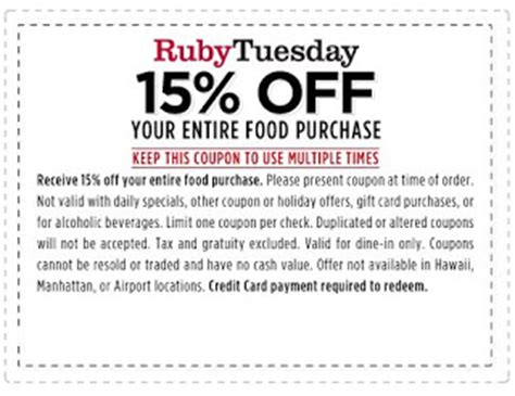 Ruby Tuesday Coupons Printable 2017