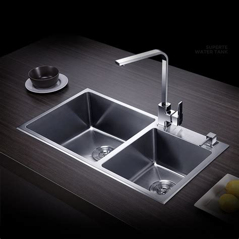 stainless steel kitchen sink double bowls wash basin wall aliexpress com buy free shipping sink double groove