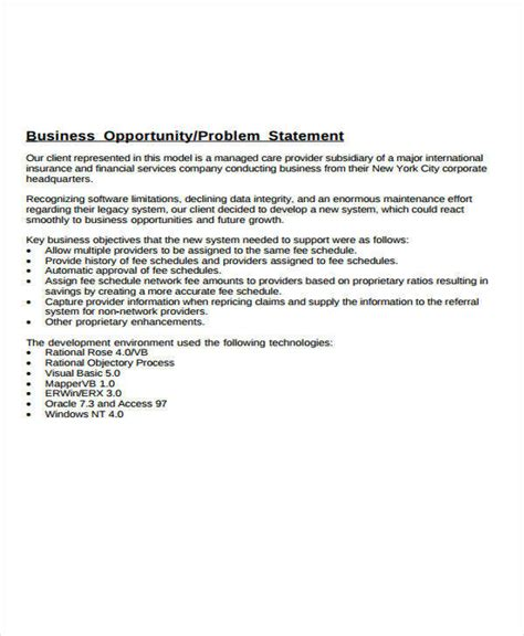 business problem statement template 36 statement exles templates in pdf