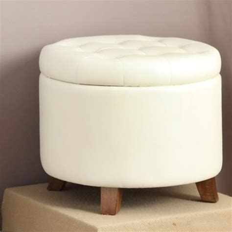 white faux leather ottoman poundex round faux leather storage ottoman in white f7062