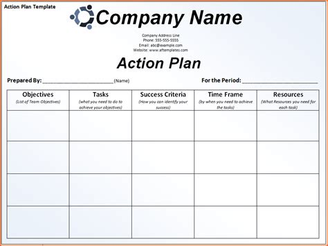 7 plan of action templatememo templates word memo