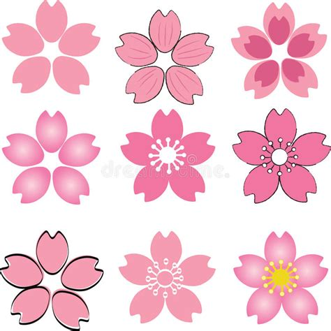 cherry pattern vector art pink cherry blossom flower set vector with many style
