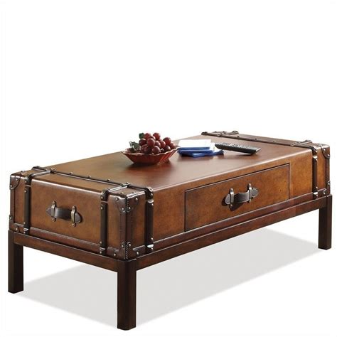 Suitcase Coffee Table Riverside Furniture Latitudes Suitcase Cocktail Aged Cognac Wood Coffee Table