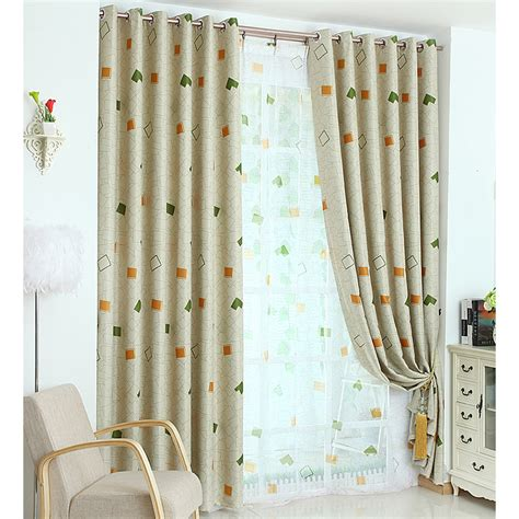 contemporary bedroom curtains beige and green gingham print polyester contemporary