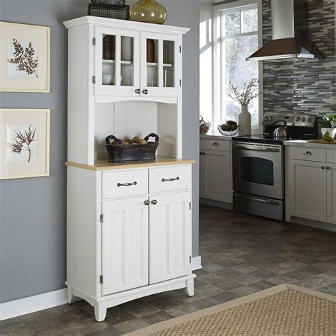 shop home styles white natural wood kitchen hutch at lowes com