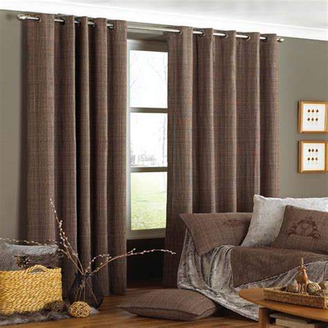 brown patterned eyelet curtains paoletti courcheval tartan check lined eyelet curtains
