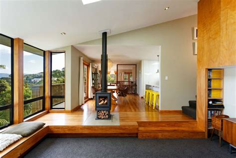Modern Living Room Additions Warm Wooden Interior Accentuates A Welcoming Wellington Home