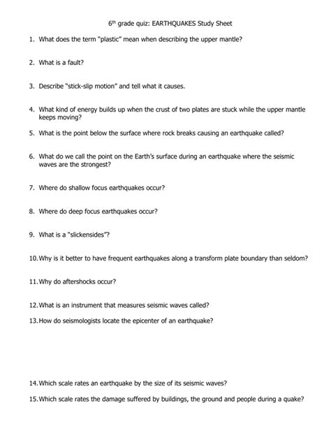 Note Taking Worksheet Earthquakes Section 1 Answers Free