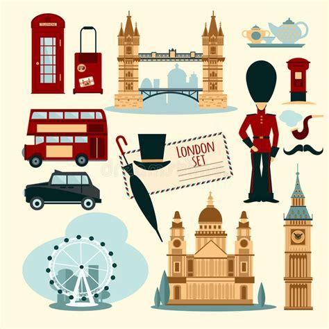 carrozza inglese insieme turistico di londra illustrazione vettoriale