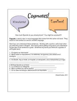Cognates Worksheet by Cognates In Worksheet
