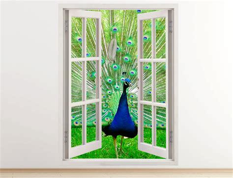 peacock wall sticker peacock wall decal vertical 3d window peacock in green park