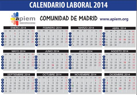 Calendario Laboral 2014 Festivos 2014 Madrid Capital The Knownledge