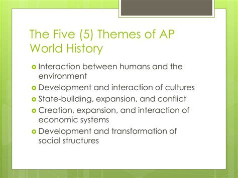 5 themes powerpoint presentation ppt the five 5 themes of ap world history powerpoint