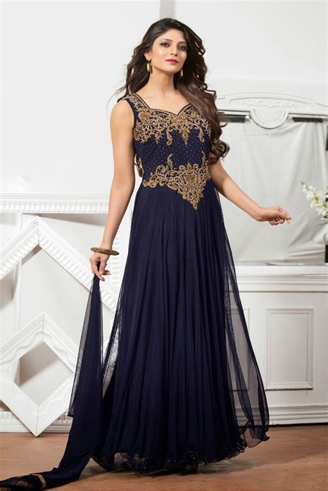 Dress Daster India Turkey Style Navy net semi stitched wear gown in navy blue colour