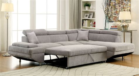 foreman contemporary style gray flannelette fabric pull out sectional sofa bed w adjustable