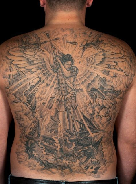 angel vs demon tattoo 54 tattoos on back