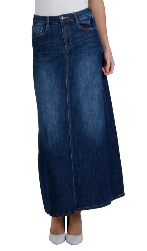 womens length denim skirt maxi skirt 68