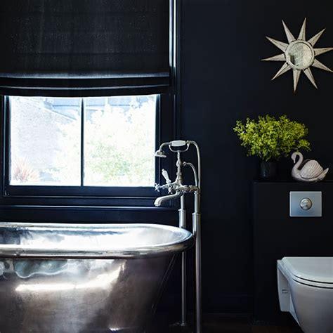 black and silver bathroom black bathroom with steel freestanding tub 10 glitzy and