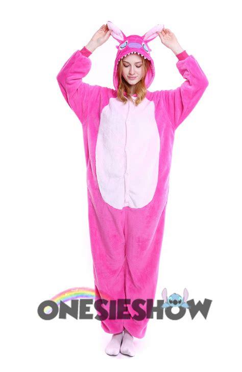 pink stitch kigurumi onesie pajamas soft flannel unisex animal costumes cheap price kigurumi