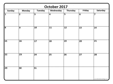 Calendar October 2017 Print October 2017 Calendar October 2017 Calendar Printable