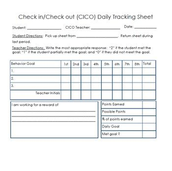 conduct sheet template check in check out behavior sheet by academic 911 tpt
