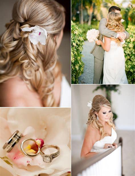 Backyard Wedding Hair Outdoor Wedding In Florida Wears Half Up Wedding