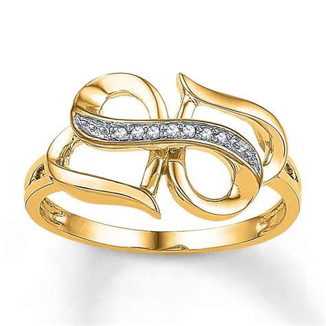 infinity ring accents 10k yellow gold