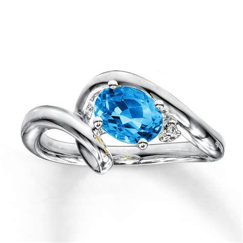 jared blue topaz ring accent 10k white gold