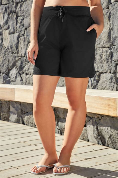 Address Finder From Name And Town Black Multi Purpose Swim Shorts With Drawstring Waist Plus Size 16 To 32