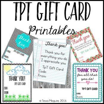 Tpt Gift Card - tpt gift card printables by tessa maguire teachers pay teachers