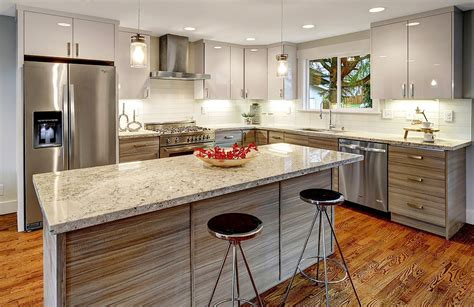 Maple Countertops Kitchen by Grey Wood Grain Flat Panel Pius Kitchen Amp Bath