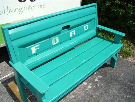 truck bench custom bench made with ford truck tailgate painted by