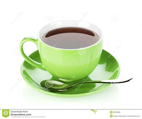 Green Tea Cup With Spoon Royalty Free Stock Photos   Image: 28903568